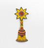 Little India Cream Wooden Kundan Meenakari Aarty Bell Key Stand