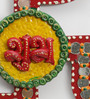 Little India Multicolour Wooden Unique Kundan Swastik Shubh Labh Door Hanging - Set of 2