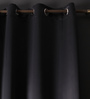 Lushomes Black Polyester 90 x 54 Inch Plain Blackout Door Curtain with 8 Metal Eyelets - Set of 2