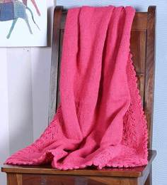 Magic Needles Classic Bordered Blanket In Dark Pink Colour