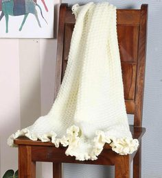Magic Needles Classic Bordered Blanket In Off White Colour