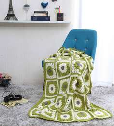 Magic Needles Exclusive Granny Square Blanket In Green Colour