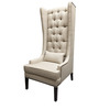Modern Tall Wing Back Chair in Ivory Color by Afydecor