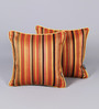 Muslin Multicolour Cotton & Polyester 12 x 12 Inch Stripe Design Cushion Cover - Set of 2