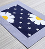 My Gift Booth Blue Print Flower Navy Blue Canvas Table Mat - Set of 6
