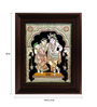Myangadi Multicolour Gold Plated Krishna Rukmani Framed Tanjore Painting