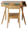 Nest Writer's Desk in Light Teak & Blue Colour by DwellDuo