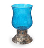 Ni Decor Blue Metal & Glass  Candle Holders