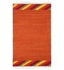 Ode to Earth Orange Wool Striped & Checkered Dhurrie