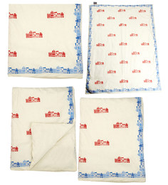 Cocobee Offwhite Homes Print Baby Quilt In White Colour