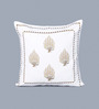 One Good Thing Pink & Brown Cotton 16 x 16 Inch Anardana Embroidered Cushion Cover