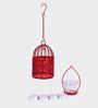 Orlando's Decor Red & White Metal & Wax Vanilla Tea Light Holder