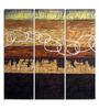 Panash Art Plywood & Sand 10 x 1.5 x 30 Inch Framed Art Panel - Set of 3