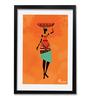Pickypomp Paper 8 x 12 Inch Tribal with Big Basket in Orange Framed Wall  Poster