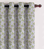 Presto Green Polyester Floral Curtain - Set of 2