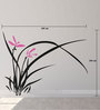 Print Mantras PVC Wall Stickers Beautiful Black Grass and Pink Flowers