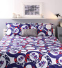 Raymond Home Blue Cotton Queen Size Bed sheet - Set of 3