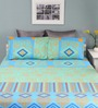 Raymond Home Sea Green Cotton Queen Silverleaf Bed Sheet with 2 Pillow Covers