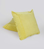 Reme Yellow Cotton 16 x 16 Inch Embroidered Cushion Cover - Set of 2