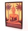 Retcomm Art Wooden 18 x 1 x 24 Inch Meditating Lord Buddha Bright Light Framed Canvas Painting