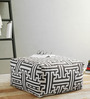 Rocca Pouffe in Black & White Colour by Purplewood