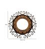 Saaga Brown & Black Mango Wood & Iron Round Mirror Frame