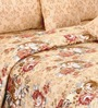 Salona Bichona Gold Floral Double Bed Sheet Set