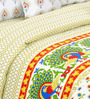 Salona Bichona Yellow Cotton Ethnic King Bed Sheet Set (with Pillow Covers)