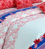 Salona Bichona Red & Blue Cotton King Bed Sheet Set (with Pillow Covers)