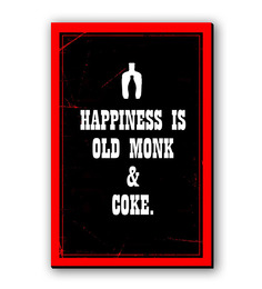 Seven Rays Black & Blue Fibre Board Happiness Is Old Monk & Coke Fridge Magnet