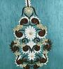 Shahenaz Home Shop Blue Poly Silk 16 x 16 Inch Ethnic Booti Cushion Cover
