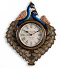 Leepaakshi Peacock Wall Clock in Multicolour by Mudramark