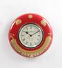ShriNath Red MDF 11.5 Inch Round Handmade Handicraft Wall Clock