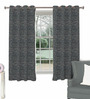 Skipper Black Viscose & Polyester Abstract Pattern Window Curtain - Set of 2