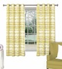 Skipper Green Cotton & Polyester Abstract Pattern Window Curtain - Set of 2