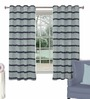 Skipper Navy Blue Polyester Window Curtain - Set of 2