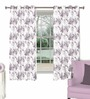 Skipper Purple Cotton & Polyester Floral & Nature Window Curtain - Set of 2