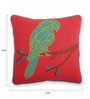 Skipper Red & Green Polyester 16 x 16 Inch Applique Parrot Cushion Cover