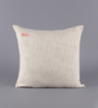Solaj Off White Cotton 18 x 18 Inch Woven Embroidered W Letter Cushion Cover