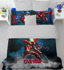 SPACES Marvel Civil Wars Blue Double Bedsheet with 2 Pillow Cover