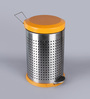 SS Silverware Perforated Orange 11 L Pedal Dustbin with Lid