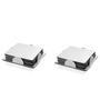 SS Silverware Stainless Steel Rubber Foam Based Square Coaster With Stand - Set of 2