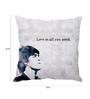 Stybuzz Black & White Silk 16 x 16 Inch Beatles Quote Taffeta Cushion Cover