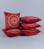 Stybuzz Maroon Velvet 16 x 16 Inch Circle Pattern Embroidered Cushion Cover - Set of 5