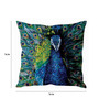 Stybuzz Multicolor Silk 16 x 16 Inch Peocock Face Standing Painted Cushion Cover