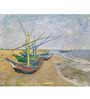 Tallenge Rolled Canvas 36 x 48 Inch Old Masters Fishing Boats on The Beach At Saintes-Maries-De-La-Mer by Vincent Van Gogh UnFramed Digital Art Print