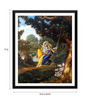 Tallenge Paper 12 x 0.5 x 17 Inch Beautiful Radha & Krishna on A Swing Framed Digital Poster