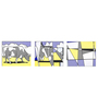 Tallenge Vinyl 36 x 0.5 x 12 Inch Cow Going Abstract by Roy Lichtenstein Premium Quality Ready to Hang Framed Art Panels - Set of 3