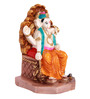 The Nodding Head Ivory White Polyresin Raja Ganesha in Orange Dhoti