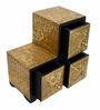 The Shopy Multicolour MDF & Mango Wood Vintage Table Top Collectible with 3 Drawers